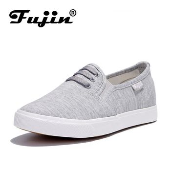 Womens Vulcanized Casual slip on Flats Canvas Shoes