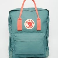 Fjallraven Classic Kanken in Green with Contrast Pink