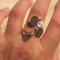 """Silver Tone and Copper """"Gitana"""" Ring - Color Choices"""