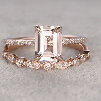 Morganite Rose Gold Wedding Set Diamond Half Eternity Ring 6x8mm Emerald Cut Art Deco Stacking Band 14k/18k