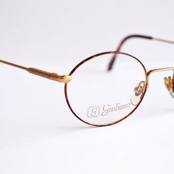 Vintage glasses. Guiliano Round Eyewear. No worn. Pantos - full vue style. Made in ITALY. Rx spectacles 90s. Light golden Brown Tortoise