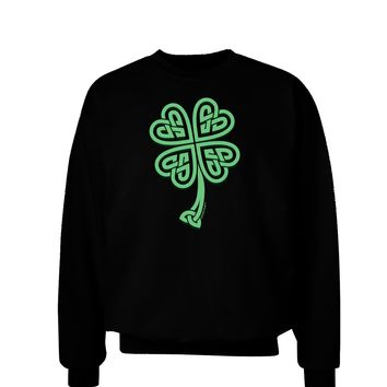3D Style Celtic Knot 4 Leaf Clover Adult Dark Sweatshirt