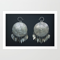 Mongolian silver earrings Art Print by Tess_Andre
