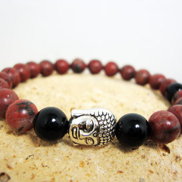 FREE SHIPPING - Men bracelet, Jasper stone and onix stone bracelet,elastic men bracelet, beaded bracelet,stretch string bracelet