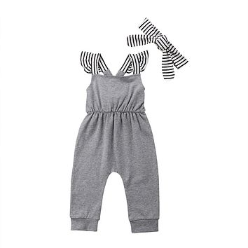 Casual Toddler Baby Girl Overalls Striped Patchworj Jumpsuit Kids Toddler Striped Romper