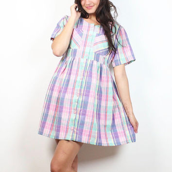 Vintage Pastel Plaid Babydoll Dress 1990s Dress Soft Grunge Dress Lolita Summer Sundress 90s Dress Pink Mint Yellow Dolly S Small M Medium