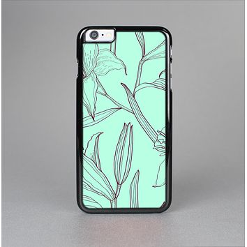 The Teal & Brown Thin Flower Pattern Skin-Sert for the Apple iPhone 6 Skin-Sert Case