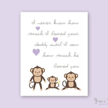 Expectant Father Gift I never knew how much I loved your Daddy, Purple Gray Monkey Print, Nursery Art by YassisPlace