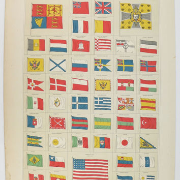 Vintage Flag Print 1884 A & C Black Antique Color Print of Flags World Flags, Red White Blue Art, Primary Colors Wall Art Vintage Wall Decor