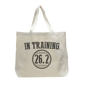 In Training 26.2 - Trendy Natural Canvas Bag - Funny and Unique - Tote Bag