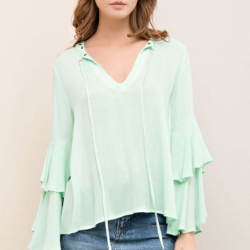 Fresh Like Mint Tie Bell Sleeve Top