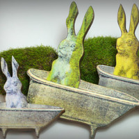 Hare in the Bath - Small Wood Brooch Pin Back