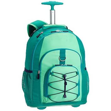 Gear-Up Mint Colorblock Rolling Backpack