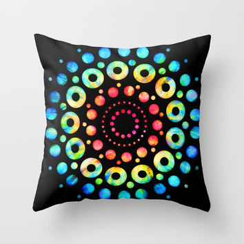 Multi-Color Mandala Tie-Dye Circle Shapes Throw Pillow by AEJ Design