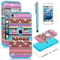 Stylus + For iPod Touch 5 5G Hybrid High Impact Case Tribal Pink / Blue Silicone