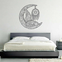 kik3159 Wall Decal Sticker Zentangle Style Cats month dream catcher living room bedroom