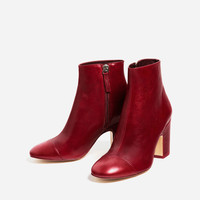 HIGH HEEL LEATHER ANKLE BOOTS WITH TOE CAP New