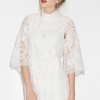 White High Neck Half Sleeves Lace Dress