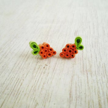 Orange Green Paper Stud Earrings Minimal Recycled Paper Jewelry Summer Eco-Friendly  / Σκουλαρίκια από χαρτί
