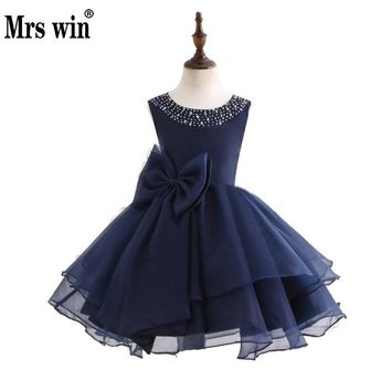 Vestido Daminha 2018 New Flower Girl Dresses Luxury Navy Blue O-neck Beads Ball Gown For Girls Party Prom Formal Dresses X