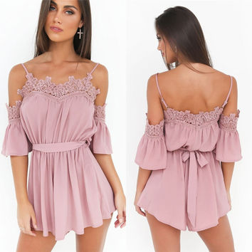 White Pink Elegant Jumpsuit For Ladies Short Sleeve Playsuits Womens jumpsuits Summer Style Appliques Spaghetti Strap Romper
