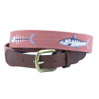 Bonefish Needlepoint Belt in Melon by Smathers & Branson