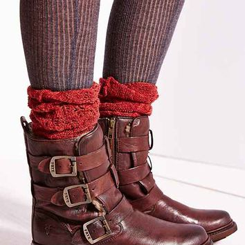 Frye Valerie Strappy Shearling Boot- Chocolate