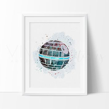 Death Star Watercolor Art Print