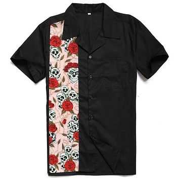 Male Red Rose Skull Short Sleeve Button Up 50s Shirt