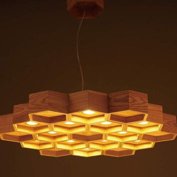 Honeycomb wooden dia75cm/ dia45cm  Chinese style chandeliers art bar countryside  retro led wood europe fashion ceiling lamp
