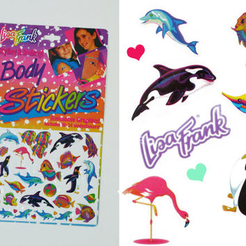Rare Lisa Frank Dead Stock Temporary Tattoo Set • Shamu Killer Whale Dolphin • Rainbow • 90s • Body Art Jewel • Club Kid Rave Seapunk Kawaii