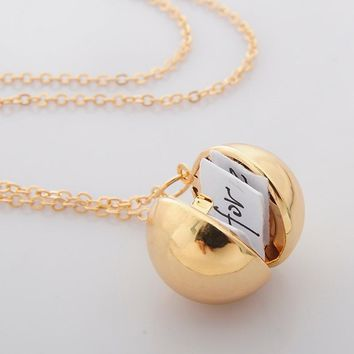 Custom Secret Message Ball Locket Necklace Gift for Lover