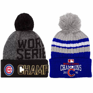2016 Skullies World Series Champs Chicago Cubs Knit Cap Beanie Hat Gold Rally Brand New Beanies