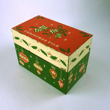 Vintage Christmas Recipe File Red and Green Tin Rustic Home Decor