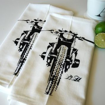 Supermarket: Motorcycle Bar Towel Pair Hand Screen Printed  from Branch Handmade