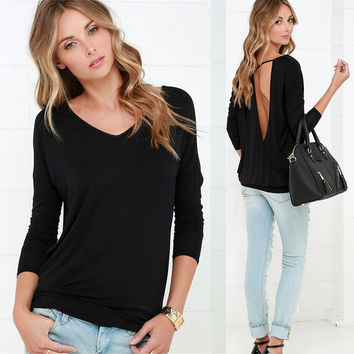 Knit Backless Long Sleeve Tee V-neck Women's Fashion T-shirts = 4807040196
