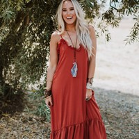 Falling Hard Ruffle Maxi Dress - Brick