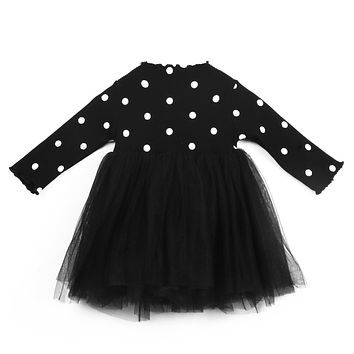 Cute Newborn Kids Baby Girl Dress Long Sleeve Knitting Polka Dot Lace Tutu Dress