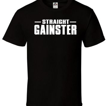 Straight Gainster Black T-Shirt Swole Gym Crossfit Gains Workout Run Sizes S-2XL