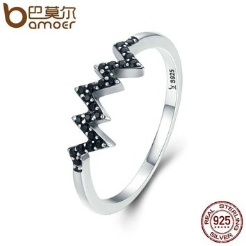 BAMOER Hot Sale 925 Sterling Silver Sparkling CZ Heart Wave Black Finger Ring for Women Anniversary Engagement Jewelry SCR207