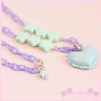 Mint & Lilac heart star necklace - fairy kei