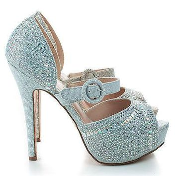 Vice158 Nude Shimmer By Blossom, Shimmer Peep Toe Rhinestone Studded D'orsay Stiletto Pumps
