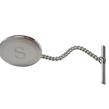 Silver Toned Etched Oval Letter S Monogram Tie Tack