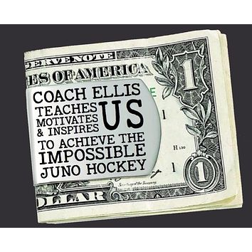 Hockey Coach Personalized Money Clip | Coach Gift