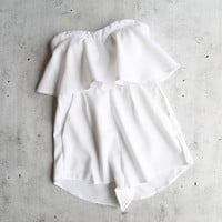 garden party - strapless ruffle romper - more colors