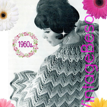 Instant Download • CAPE CROCHET PATTERN • Ladies Ripple ZigZag Chevron Cape • 1960s Vintage Crochet Pattern • Digital Download • PdF Pattern