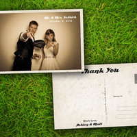 """Wedding Photo Thank You PostCard - Vintage Rustic French Toulon Customizable 4"""" x 6"""" - 50 Pieces PRINTED Double Sided Premium Card"""