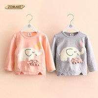 Baby Girl Sweatshirts Spring New Arrival Cartoon Elephant Girls Clothing Casual O-Neck Cotton Children Pullovers Kids Clothes
