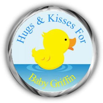 Rubber Ducky Baby Shower Kisses Stickers