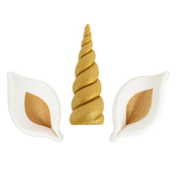 Gold Unicorn Horn Ear Sugar Toppers